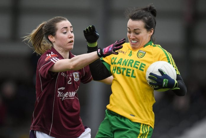 23 April 2017; Nicole McLaughlin of Donegal in action against Caitriona Cormican of Galway during the Lidl Ladies Football National League Division 1 semi-final mach between Donegal and Galway at Markievicz Park, in Sligo. Photo by Brendan Moran/Sportsfile *** NO REPRODUCTION FEE ***