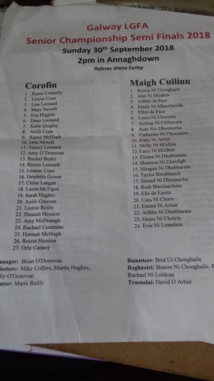 Corofin vs Moycullen LGFA Teams