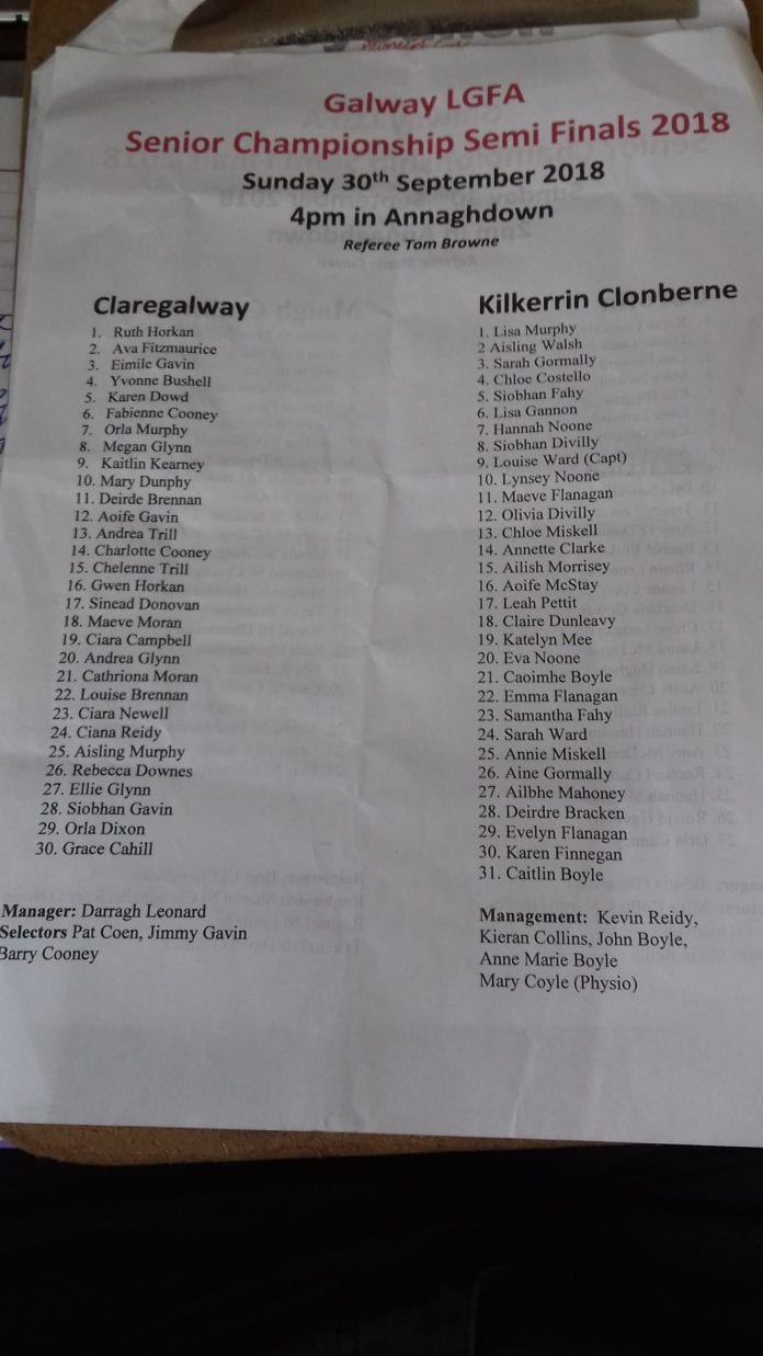 Kilkerrin Clonberne vs Claregalway LGFA Team Sheets
