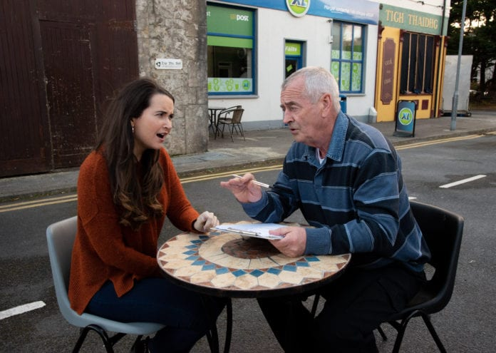 Brídín Ní Mhaoldomhnaigh agus Niall Mac Eacmharcaigh preparing the scripts for Ros na Rún's mock wedding in aid of charity - Galway Daily