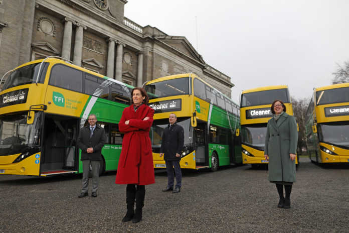 galway daily double decker buses green yellow city