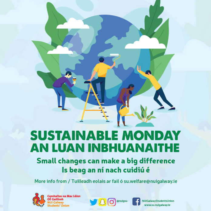 galway daily news nui galway students union sustainablemondays campaign poster